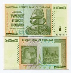 Genuine Zimbabwe 2008 20 Billion Money Banknote UNC - P 86 Inflation Currency AB