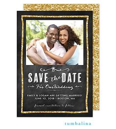 Glitter Chalkboard Digital Photo Save The Date Card | The Keeping Room