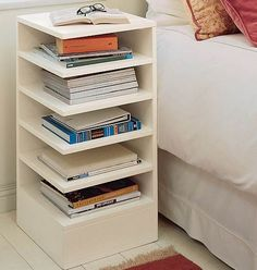 Side table with easy access shelves