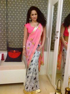 masaba gupta in her own design a cow print saree