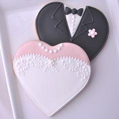 Heart Shaped Bride & Groom Cookies