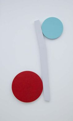 Original Minimalist Abstract Wood Wall Sculpture - In Red, Light Teal & Gray