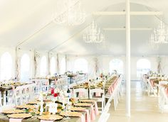 pink mint and gold wedding | photo by Cassandra Photo | 100 Layer Cake  I like how this tenting feels upscale and has long rows of tables, but it's a little too bare and cramped feeling.