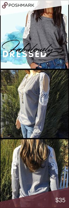 Crochet Lace Cold Shoulder Crochet Lace Cold Shoulder; cotton jersey material; crochet lace cold shoulder detail; banded at bottom hem; sizes available- M- 3X, measurements are approximate; Please assure your proper size based on measurements given in the measurement chart. Boutique Tops