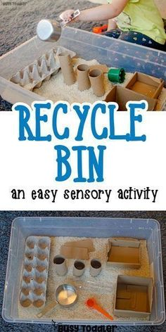 Make a Recycled Sensory Bin - love this quick and easy toddler activity! Check out this awesome recycled sensory bin. What a great quick and easy toddler activity! Toddlers will love this fun sensory bin activity! Toddler Learning Activities, Montessori Toddler, Toddler Play, Montessori Activities, Infant Activities, Toddler Preschool, Toddler Sensory Bins, Recycling Activities For Kids, Activities For 2 Year Olds Indoor