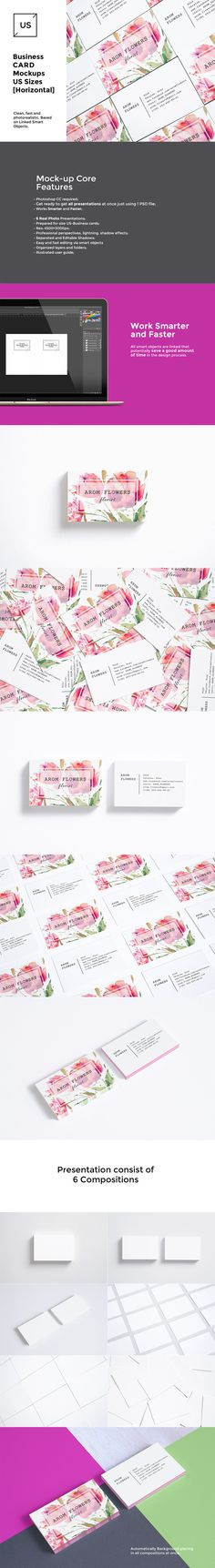 US Business Cards Mockups Set by itembridge creative store on @creativemarket