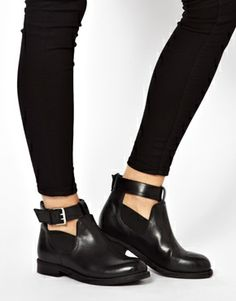 Image 3 ofASOS ASCOT Leather Cut Out Ankle Boots