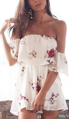 #summer #outfits / off the shoulder floral print playsuit