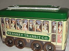 "Hershey's Vehicle Series Canister Tin Box #3 Trolley on Wheels Hershey 2002 7""L #Hershey"