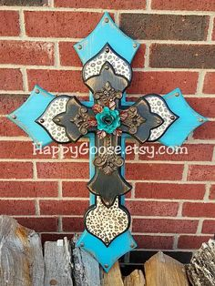 Wall CROSS - Wood Cross - Large - Antiqued Teal and Black, with Leopard print, iron cross, and large turquoise iron rose
