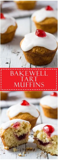 Bakewell Muffins - Moist and tender almond flavoured muffins filled with raspberry jam, and topped with almond icing and Glacé cherries! Muffin Recipes, Cupcake Recipes, Baking Recipes, Dessert Recipes, Baking Ideas, Cafe Recipes, Bread Recipes, Brunch, Baking Cupcakes