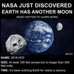 NASA says second moon is larger than 120 feet metres) across but no more than 300 feet metres) wide, has likely orbited our world for about … – handy Astronomy Facts, Space And Astronomy, Hubble Space, Space Telescope, Space Shuttle, Astronomy Science, Wow Facts, Wtf Fun Facts, Cool Science Facts