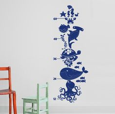 Ocean Friends - Under the Sea Growth Chart Vinyl Wall Decal for Nursery, Kids, Children. $32.00, via Etsy.