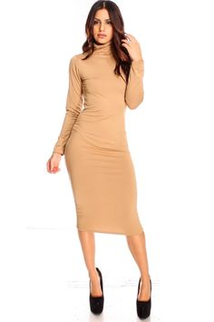 Description: This causal dress features a long sleeve wit a high neckline and a comfy soft material. This dress length is about 42 inches. This could be wore with heels and a blazer or flats and a small purse. cotton spandex polyester Model Info: Height: 5ft