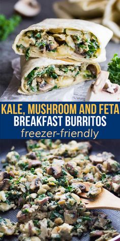 These freezer-friendly healthy breakfast burritos are packed with kale, mushrooms and feta. The perfect easy grab and go breakfast that will actually keep you full! Slow Cooker Freezer Meals, Freezer Recipes, Slow Cooker Recipes, Best Lunch Recipes, Best Breakfast Recipes, Favorite Recipes, Lunch Meal Prep, Meal Prep Bowls, Work Lunches