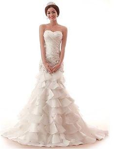 Trumpet/Mermaid Sweetheart Court Train Organza Wedding Dress Easebuy! Free Measurement!