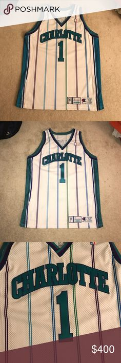 86e4c10f87e Baron Davis Charlotte Hornets Champion Jersey Baron Davis Charlotte Hornets  NBA basketball vintage Champion authentic sewn
