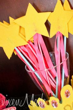 Make your own wands for a princess themed birthday party.
