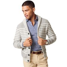 Tommy Hilfiger men's sweater. Stitched stripes define our shawl collar cardigan tailored with a wide gauge stitch. Consider it a soft jacket alternative for the transitional months. • Custom fit.• 100% cotton.• Ribbed trim.• Machine washable.• Imported.