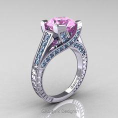 Classic 14K White Gold 3.0 Ct Light Pink Sapphire Aquamarine Engagement Ring R364-14KWGAQLPS | Art Masters Jewelry