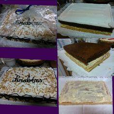 Bolo russo especial: bolo de iogurte, massa folhada, bolo de chocolate, recheio de creme pasteleiro e cobertura de chantilly.  Nhammm