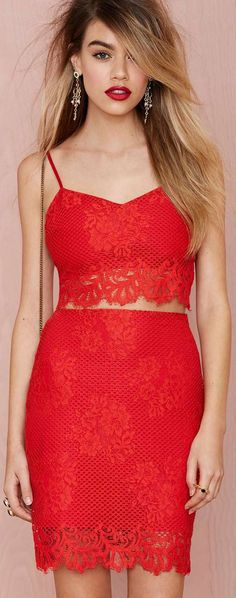 Red Lace Twin Set
