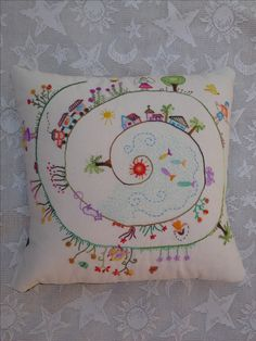 I'm thinking ... Life's Journey. Draw & embroider your own events, with dates on a pillow cover ...