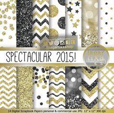 Gold Black New Year's Eve Digital Paper Blog por LagartixaShop
