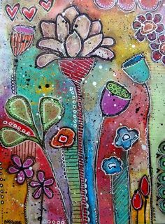 acrylics, poster paint pens - mixed media - intuitive painting - betty franks krause