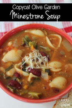 olive garden minestrone soup - made without can of tomatoes and white beans. Copycat Recipes, Soup Recipes, Dinner Recipes, Cooking Recipes, Healthy Recipes, Yummy Recipes, Cooking Tips, Keto Recipes, Vegetarian Recipes
