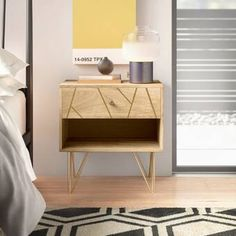 Genevieve 2 Drawer Nightstand & Reviews | AllModern Solid Wood Dresser, 2 Drawer Nightstand, Nightstands, Low Shelves, Coffee Table With Storage, All Modern, Living Room Furniture, Apartment Furniture, Apartment Ideas