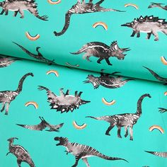 Rainbow Dinos Mint Single Jersey, sold by half metre Flamingo Fabric, Dinosaur Fabric, Dinosaur Design, Custom Printed Fabric, Projects For Kids, Sewing Projects, Best Stretches, Fabulous Fabrics, Fabric Online