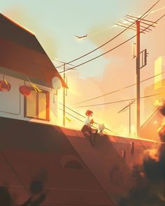 """2,874 Likes, 56 Comments - Jenny Yu (@yeuujjn) on Instagram: """"having watermelon on the rooftop #illustration #morning #rooftop"""""""