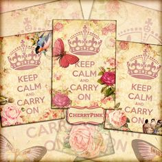 Vintage Scrapbook KEEP CALM pink digital collage sheet digital by CherryPinkPrints available as an instant download!