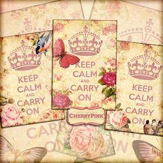 KEEP CALM vintage floral ephemeram pink by CherryPinkPrints