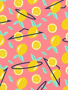 Seamless summery pattern, sicilian lemons and geometry, like lemons lost in the space. A perfect summer pattern. Vector illustration by DesigndN.