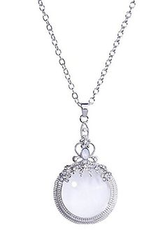 Genluna Women's Necklace, Small Flowers with Crystals Ornate Magnifying Glass Necklace Silver * Check out this great image @