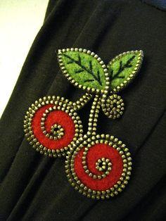 Felt and zipper cherries brooch by woollyfabulous on Etsy,