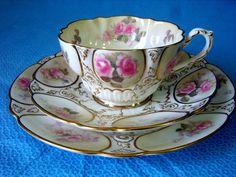 George Jones Gilded Pastel Floral Trio C1896 tea cup Saucer Plate