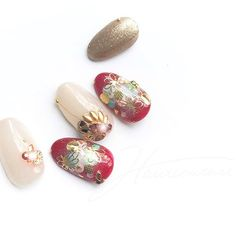 New Year's Nails, Gel Nails, Nail Patterns, Pattern Nails, Japanese Patterns, Christmas Nails, Nail Designs, Gemstone Rings, Nail Art
