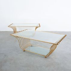 Jean Royère Style One of Two Golden Harp Coffee Tables, France 1955 Harp, Interior Design, Coffee Tables, Glass, France, Furniture, Gallery, Home Decor, Style