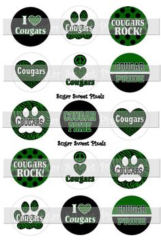 INSTANT DOWNLOAD Green   Cougars School Mascot 1 by sugarnspicebow
