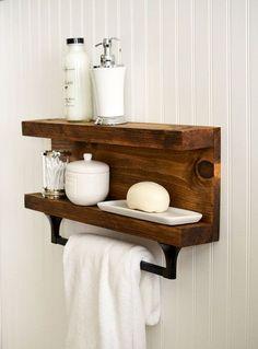 Bathroom Shelf With Towel Bar - Metal Hooks - Modern Rustic Decor - Wall Hanging - Cottage - . Bathroom Shelf With Towel Bar - Metal Hooks - Modern Rustic Decor - Wall Hanging - Cottage - . Hanging Bathroom Shelves, Rustic Bathroom Shelves, Rustic Bathroom Decor, Shabby Chic Kitchen, Shabby Chic Homes, Shabby Chic Decor, Rustic Shelves, Bathroom Ideas, Glass Shelves