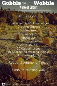 """I did this workout the other day when I couldn't get to the gym, and I have to warn you - it's intense! Go ahead - get your workout """"gobble"""" on and you will for sure feel like you want to """"wobble"""" after this one! No excuses either - this one can easily be done at home and requires NO equipment! Gobble 'til you Wobble Workout Circuit 