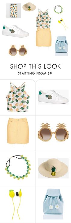 """Pineapple Party!"" by aqaunugget ❤ liked on Polyvore featuring WithChic, Boohoo, Topshop, Gucci, Ashley Stewart, Forever 21 and Sugarbaby"