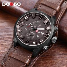 Pánské hodinky Top Brand Luxusní DOOBO Pánské hodinky Kožené řemínky Módní  křišťálově-hodinky Sportovní náramkové hodinky Datum Hodiny Relojes 2236f2031a