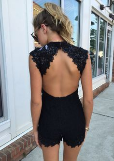 Open back romper #swoonboutique