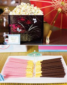 Colorful Japanese Little Kokeshi Birthday Party. Put out strawberry and chocolate Poky sticks