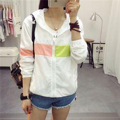 Women Fashion Pocket Zipper Hooded Print Outwear Jacket Plus Size Ch049