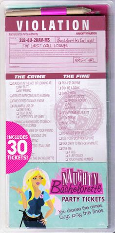 The Naughty Bachelorette Party Game Tickets Bridal Shower